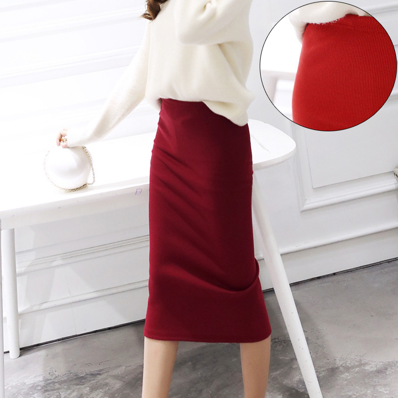 2018 New Fashion Solid Skirt Streetwear Casual Harajuku Knitting Skirts Womens Sexy Package Hips Pencil Skirt Women Clothing