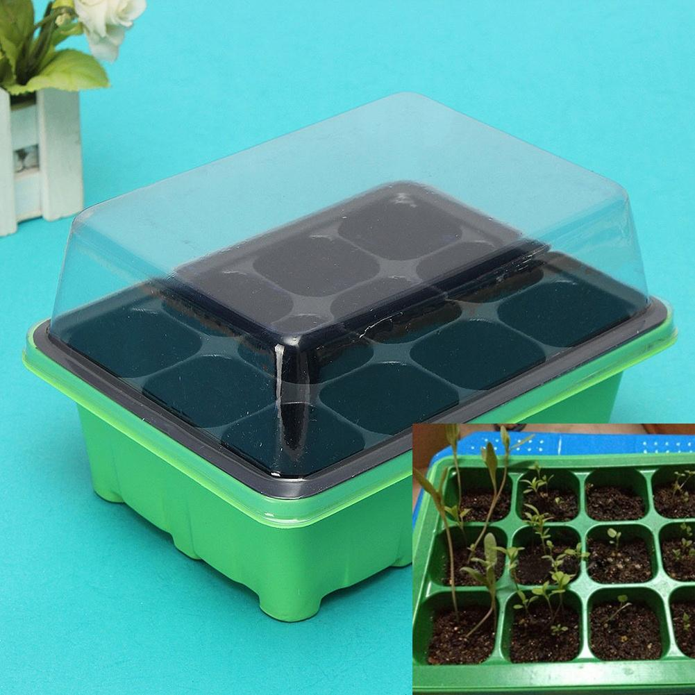 12 Cells Hole Plant Seeds Propagation Nursery Pot Seeding Grow Box Case Tray Seedling Tray Drop Shipping