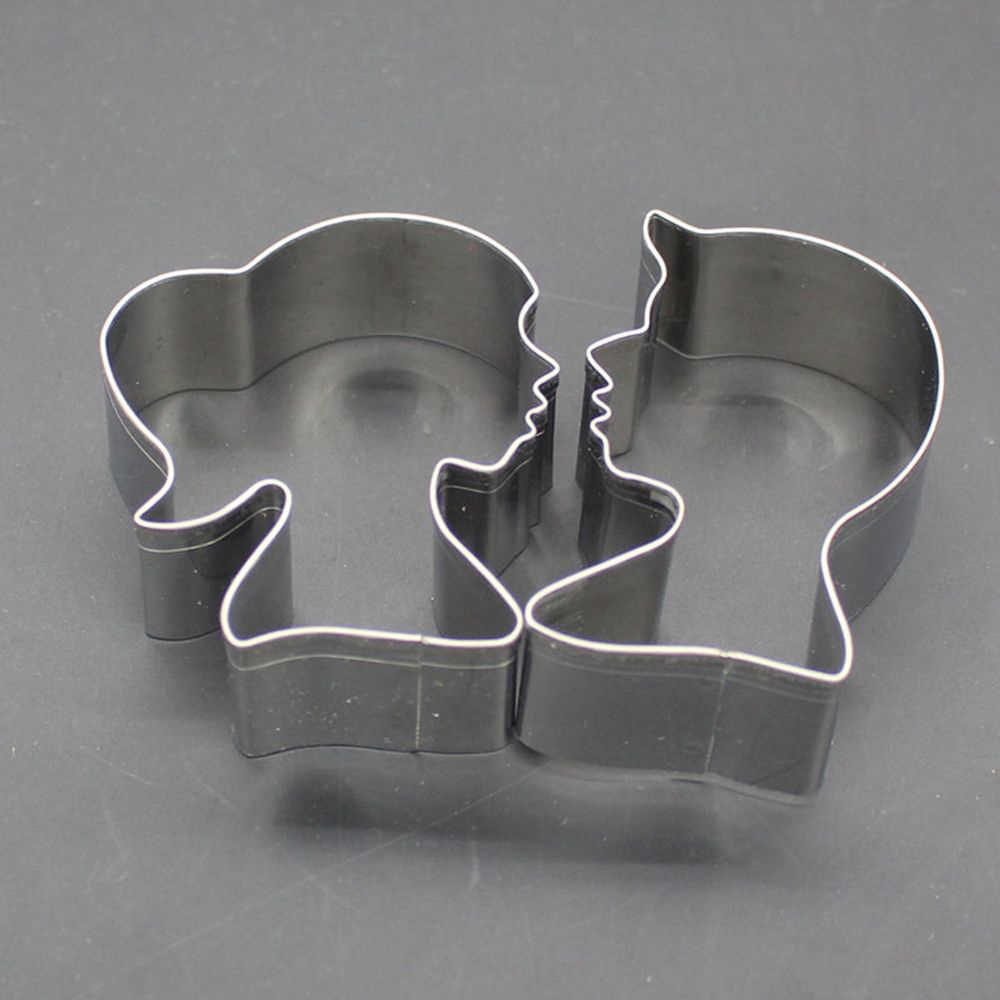 2pcs / set Stainless Steel Lovers Cookie Cutter Shape Cake Fondant Cookie Cutter Mold Tool Kitchen Baking Tool