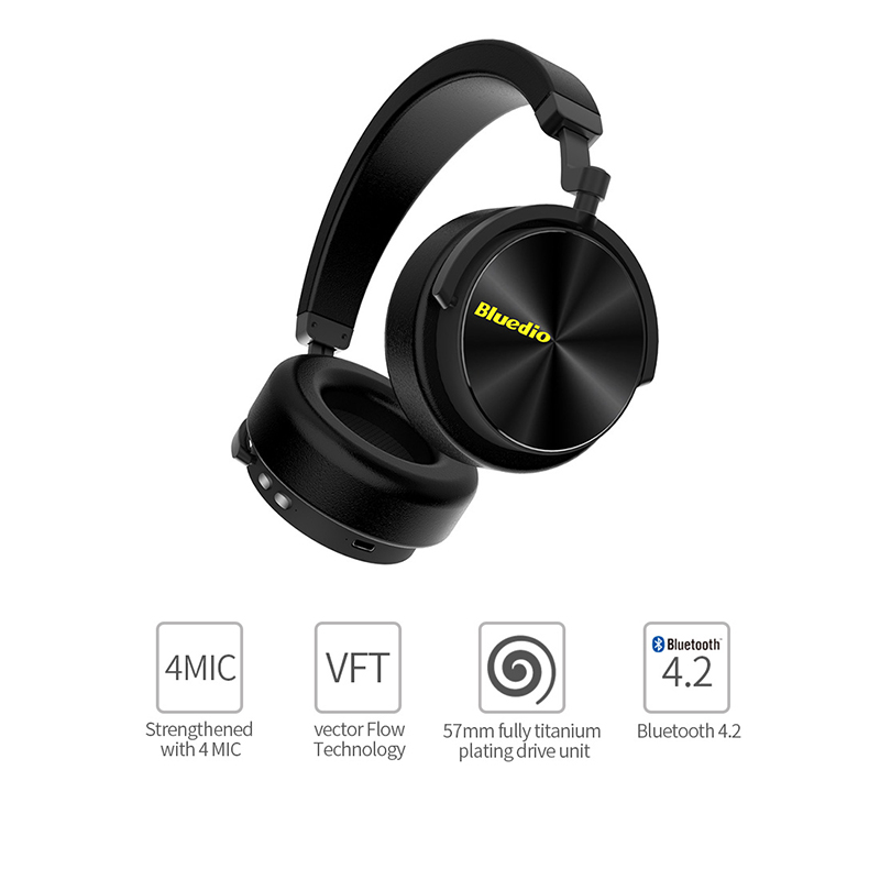Bluedio T5 Draadloze Hoofdtelefoon hifi stereo Bluetooth ruisonderdrukkende headset met microfoon voor mobiele telefoons-in Telefoonoordopjes en hoofdtelefoons van Consumentenelektronica op  Groep 1