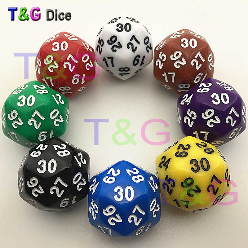 Высококачественные 30 сторонние кости 8 цветов Красный Синий Зеленый Желтый Черный Фиолетовый Коричневый Белый Пластиковые кубики 1 шт