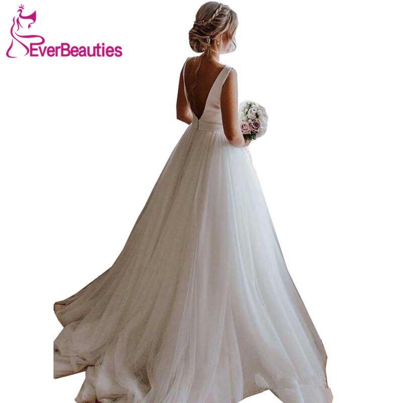 Vestidos De Novia 2019 Wedding Dresses Tulle Satin Backless Robe Mariage White Gown