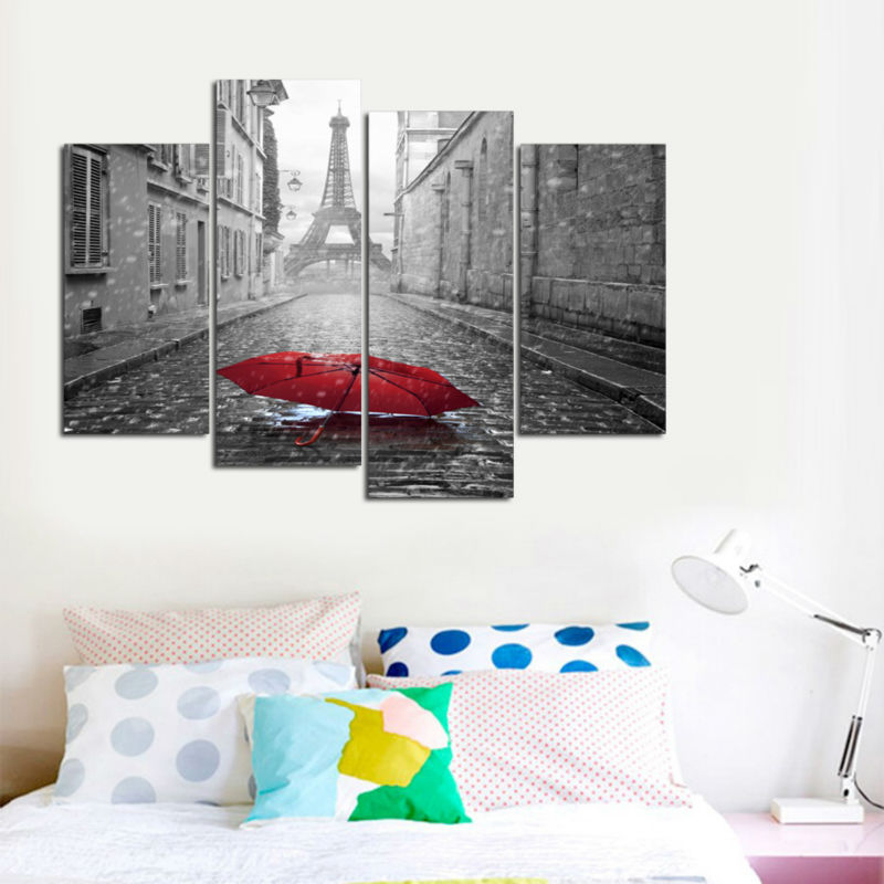2f9b612f71f 4 Piece Paris City Black and White Scenery Red Umbrella Oil Painting for  Home Wall Decor Canva Art HD Print Picture-in Painting   Calligraphy from  Home ...