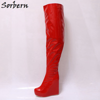 Sorbern Custom Made Wide Calf Boots For Customer Crotch High Boots For Women Wedge High Heels 19CM And Platform 5CM