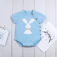 Bunny Rabbit Knit Body for Newborn Boy Girl Summer Outwear Bodysuits Casual Short Sleeve Toddler Kids Jumpsuits Children Clothes(China)