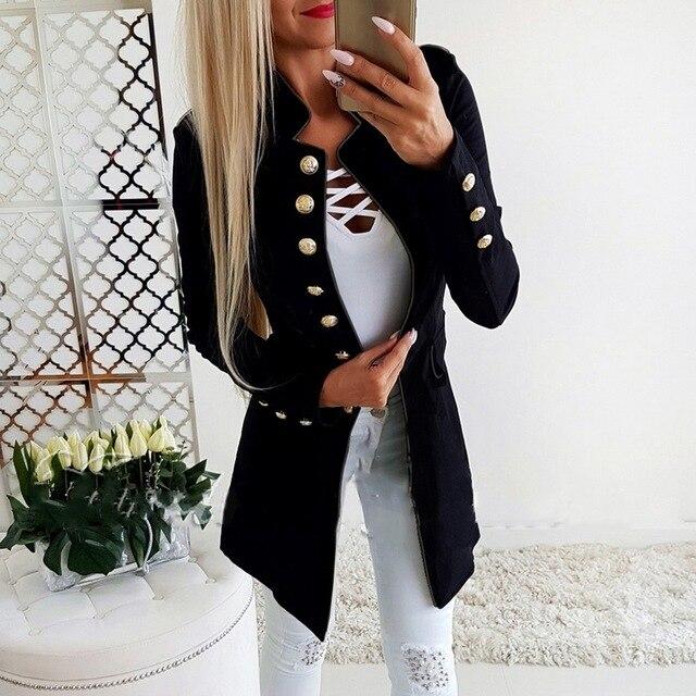Осень 2018 г. для женщин Винтаж Панк пиджаки для тонкий длинный рукав кнопка дамы Блейзер Feminino ПР Формальные работы костюм куртка