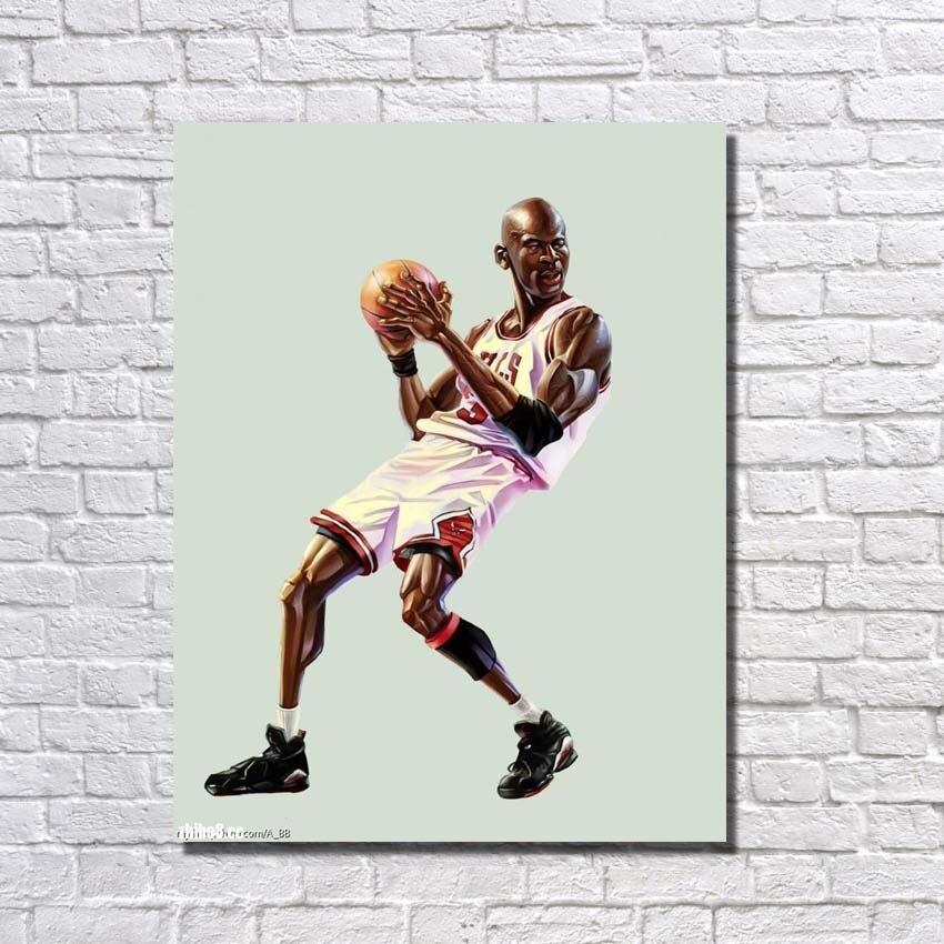 Art moderne photo peint à la main peinture à l'huile sur toile photos murales pour décor à la maison joueur de basket-ball Art pas encadré