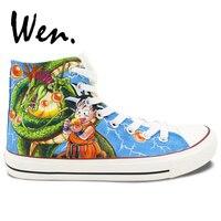 Вэнь Высокий Верх ручная роспись парусиновая обувь с рисунком из аниме «Жемчуг дракона» Семья цифры на открытом воздухе кроссовки для отды