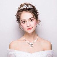 מסיבת חתונת הכלה קריסטל ריינסטון עגילי שרשרת תכשיטים עבור כלות נוצצים נשף השושבינות חם כסף מקסים