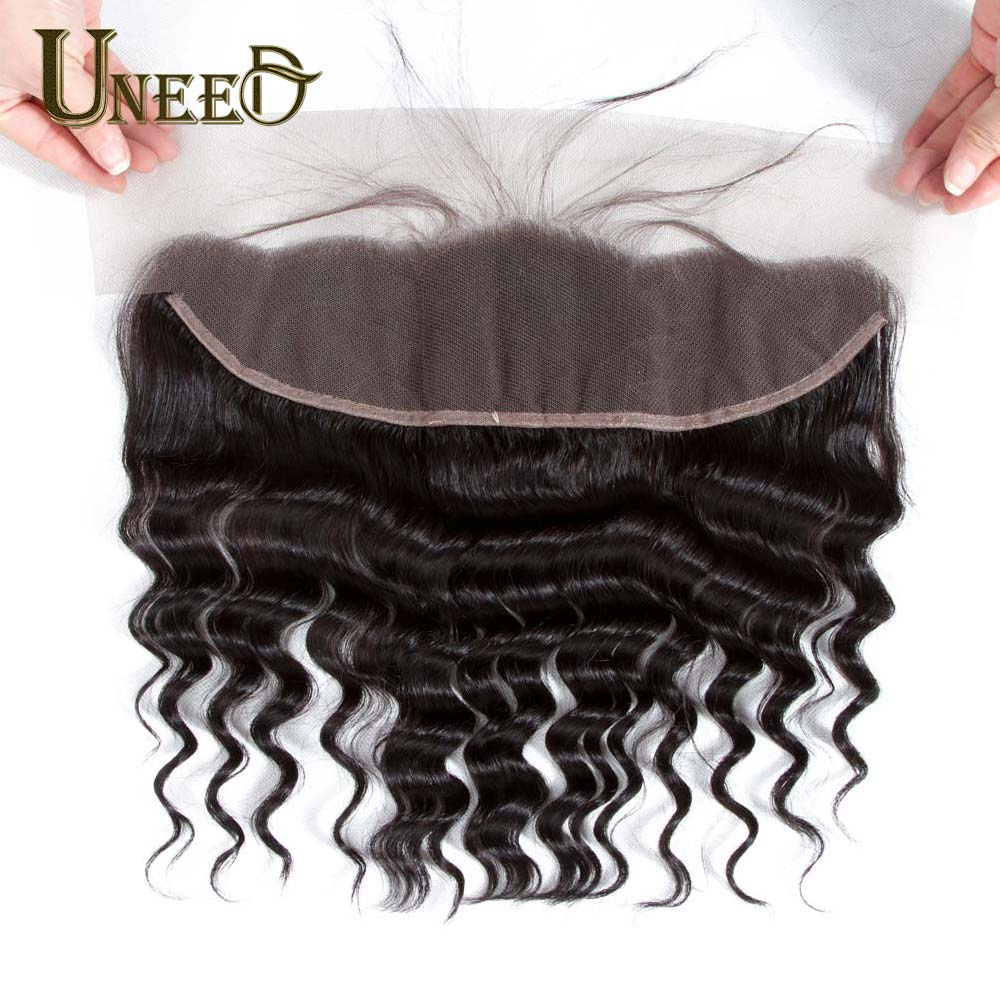 Uneed Hair 13X4 Lace Frontal Closure With Baby Hair Brazilian Loose Deep Wave Remy Human Hair