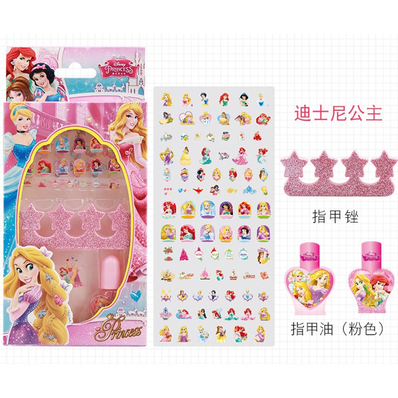 Frozen girls Nail polish sticker set elsa and Anna washable Makeup Toy  Disney Princess Sofia girl gift