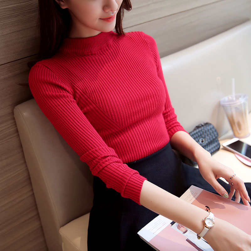 Sueter Mujer Invierno  Autumn Winter Women Knitting Sweaters And Pullovers Turtleneck Long Sleeve Swetry Damskie Trui Dames