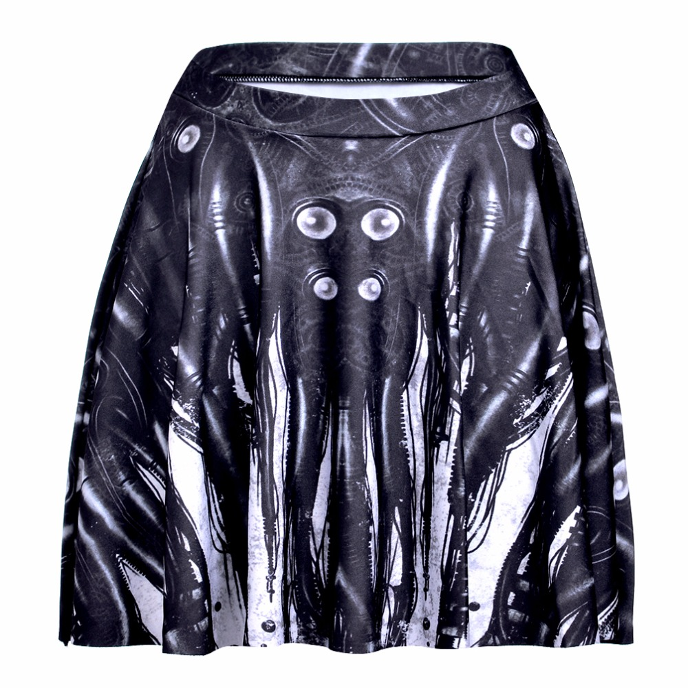 NEW 1178 Summer Sexy Girl Skull Machina octopus monster Printed Cheering Squad Tutu Skater Women Mini Pleated Skirt Plus Size