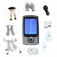 Dual Tens Machine Digital Massager Pulse Acupuncture Muscle Stimulator With Conductive Set Glove Sock Kneepads Body Pain Relief