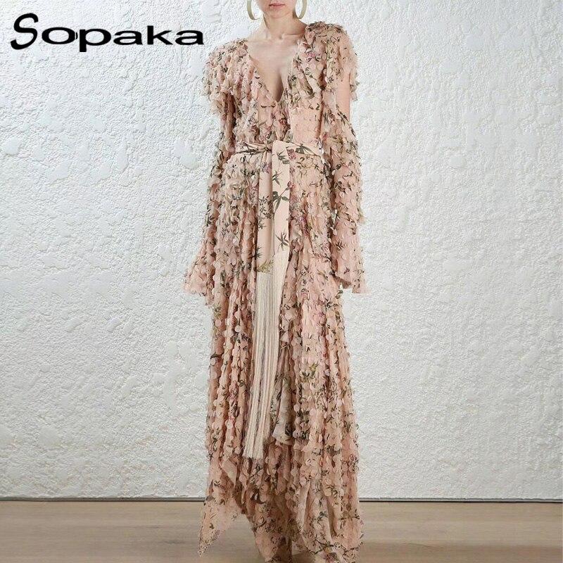 Spring High Quality Designer Women Long Dress Sexy V Neck Backless Ruffles