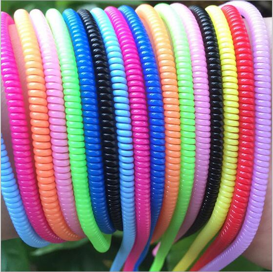 1000pcs Spring Charging Cable Protector Rope 60CM Spiral Cable Protector Wrap Cable Winder For Mobile Phone