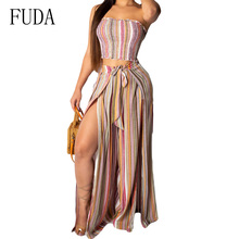 FUDA Vintage Striped 2 Pieces Sets Sexy Strapless Top and Loose Long Pants Summer Casual Party Beach Jumpsuits Women Clothes