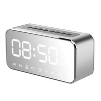 Portable MP3 Player Mirror LED Stereo Speakers Bluetooth Speaker with FM Radio Time Alarm Clock J2Y