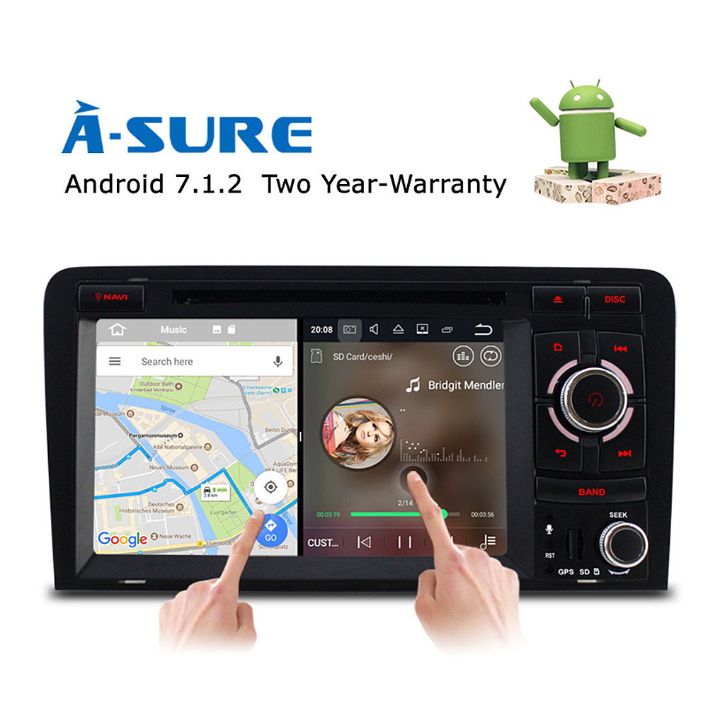 A-Sure Radio Android 7.1 Car DVD GPS For Audi A3 S3 RS3 2002-2011 With Wifi 4G GPS BT SWC OBD DAB+ Mirror Link Navigation