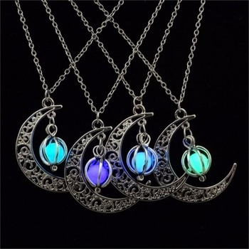 Glow In the Dark Pendant Necklaces For Women Silver Plated Chain Long Night Moon Fashion Jewelry