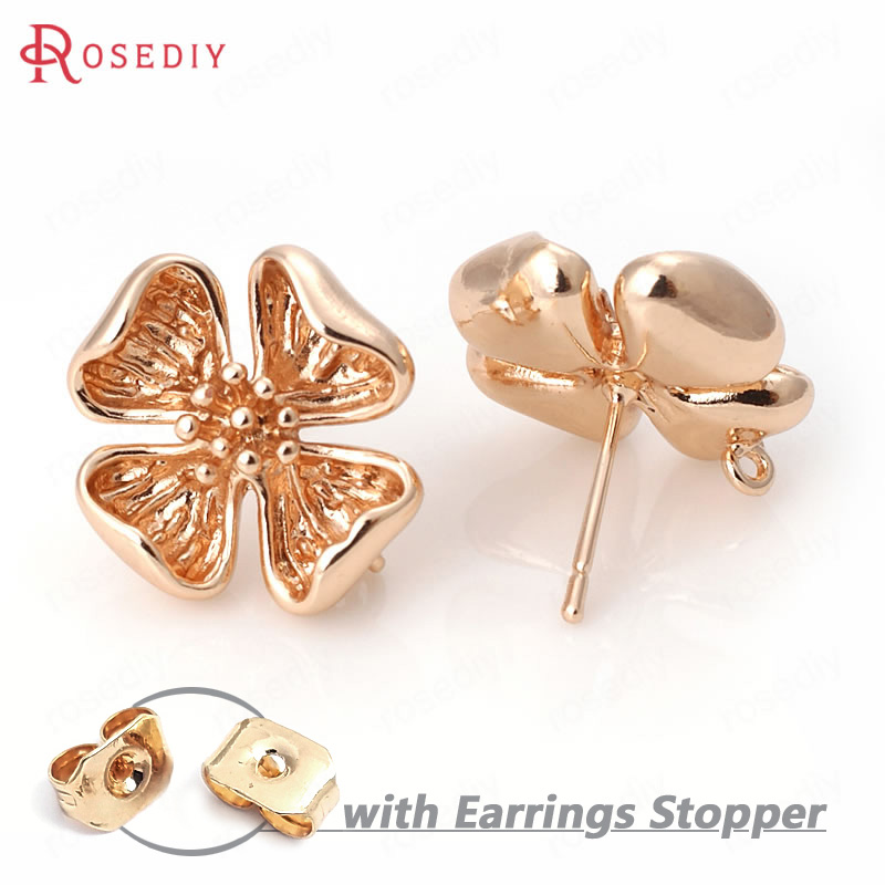 6PCS 17.5MM 24K Champagne Gold Color Plated Brass Flower Stud Earrings High Quality Diy Jewelry Accessories