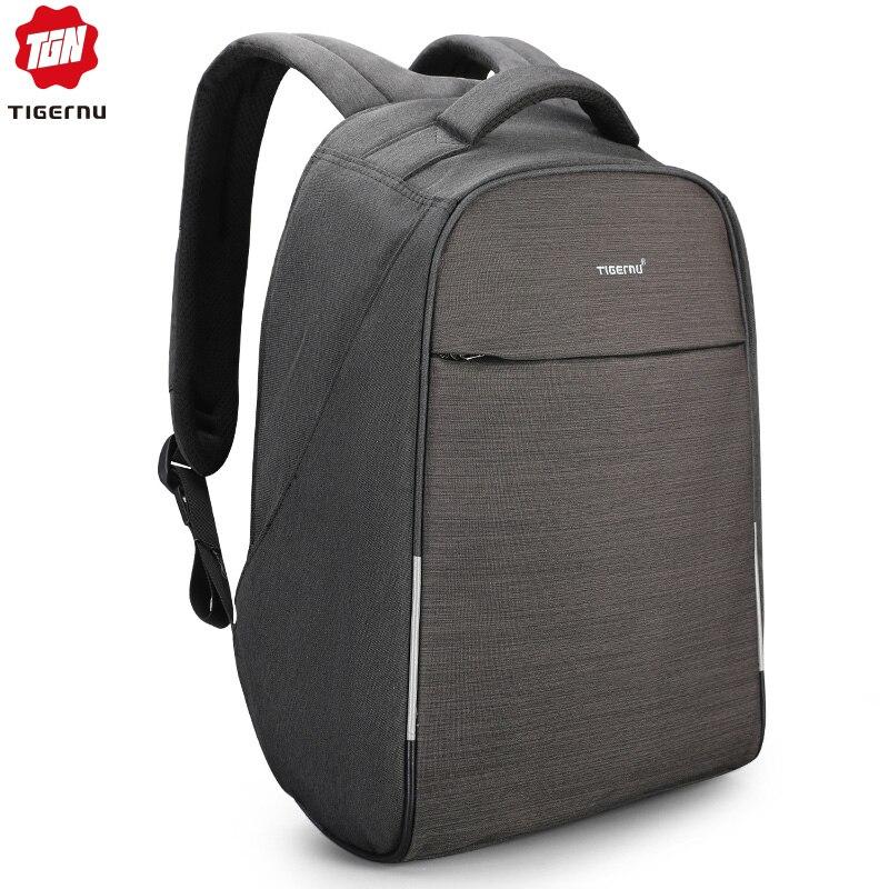 Tigernu 2019 Fashion 15 6 Laptop Anti theft Design Men Backpack USB Charging High Quality Waterproof