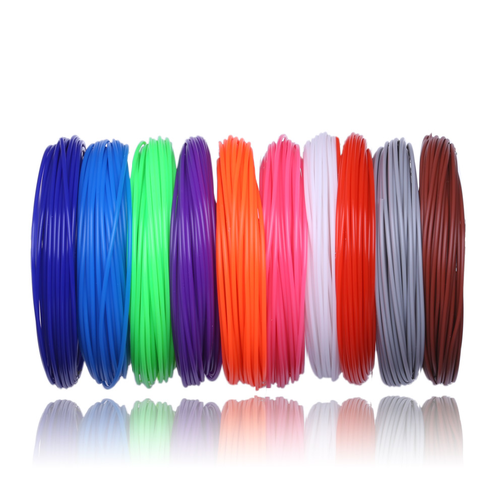 New 100 Meter 10 color set 3D Pen Filament PLA 1 75mm Plastic Rubber Printing Material For 3D Printer Pen Filament in 3D Printing Materials from Computer Office