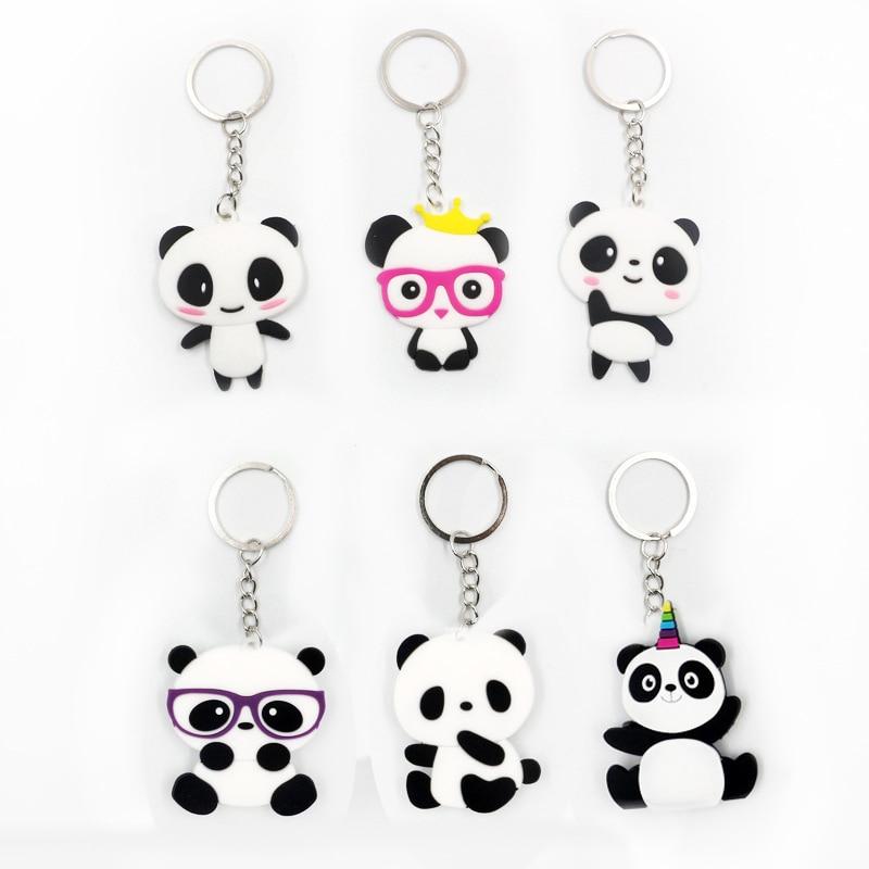 2pcs/lot Cute Panda Animal Keychain Bag Key Ring Children Gir Toys Hanger Key Holder Car Keychain Phone Clips Keyfob Accessories