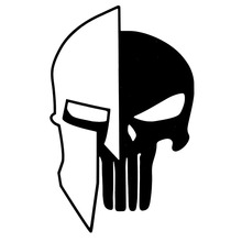 9.7CMX15.2CM Sparta Helmet Punisher Skull Vinyl Motorcycle Decals Car Sticker Black/Silver C1-3171