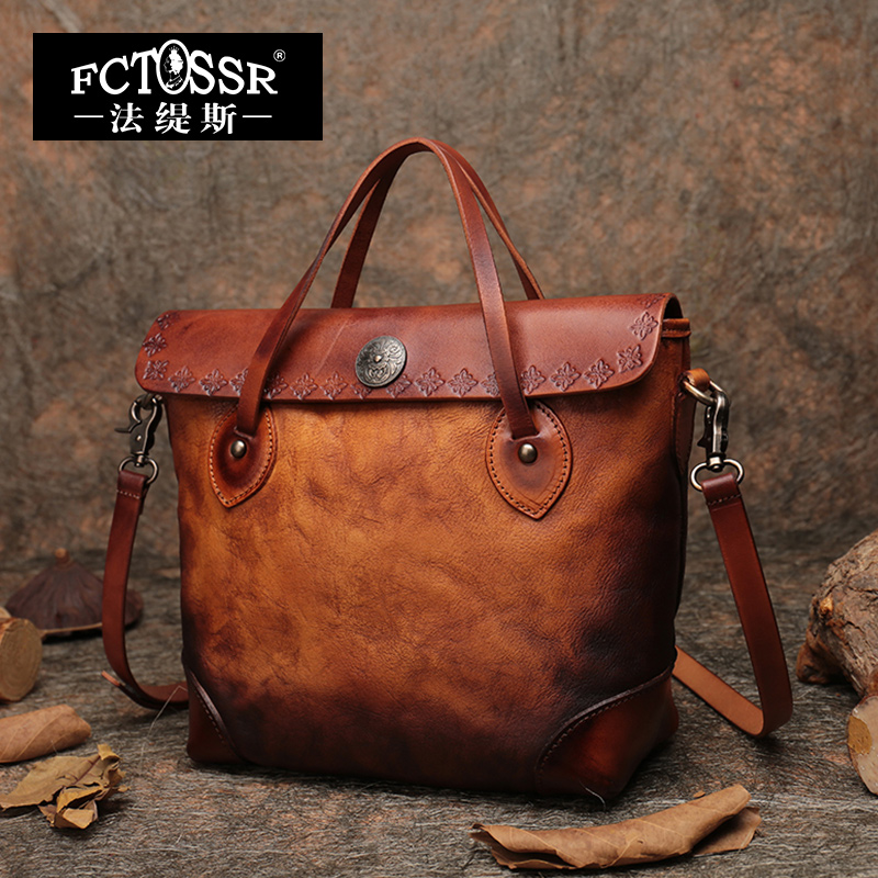 Top handle Handbag Women Briefcase Handmade Retro Shoulder Bags 2019 Latest Lady Messenger Crossbody Bag Leather