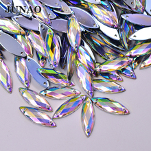 Фотография JUNAO 7*21mm Flatback Crystal AB Sew On Rhinestones Acrylic Stones Horse Eye Shape Sewing Strass Crystals For Clothes Crafts
