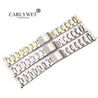 CARLYWET 19 20 мм 316L нержавеющая сталь двухцветный Цвета: золотистый, серебристый часы ремешок старый стиль Oyster браслет полые загнутым концом