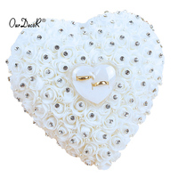 12 Colors Wedding Favors Hang Ring Pillow With Transprent Box Heart Design With Rhinestone Pearl Decor