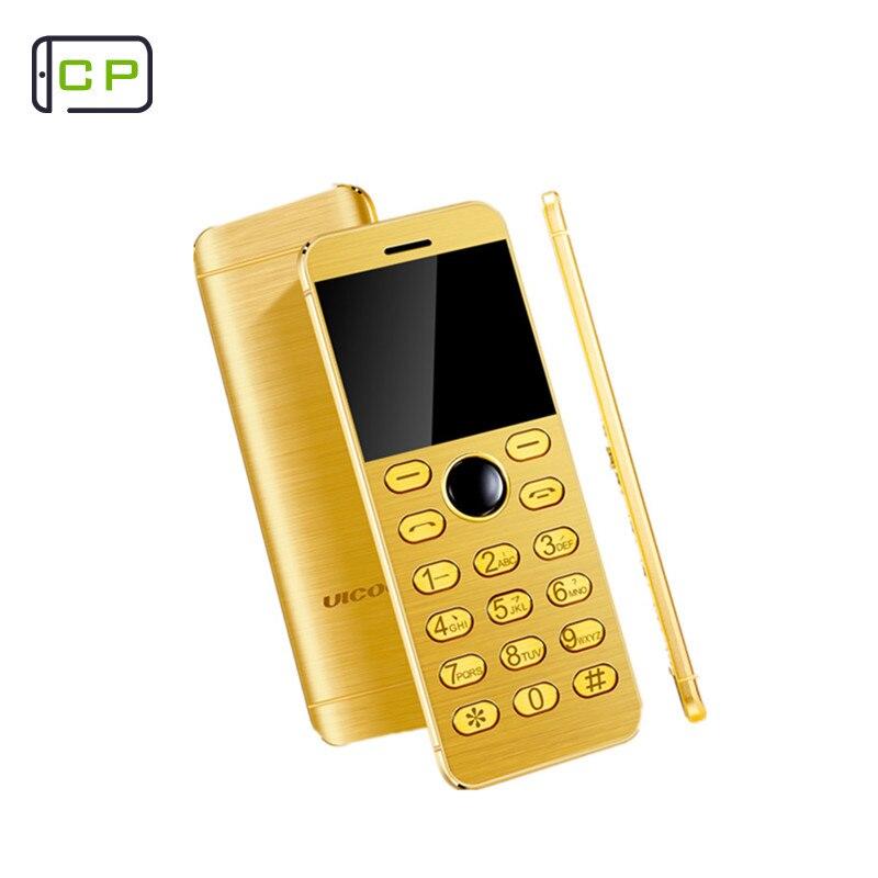 Original Ulcool V16 Metal Body Fashion Card Phone Ultra Slim Bluetooth 2.0 With Mp3 FM Dual SIM Children Mobile Cell Phone mobile phone