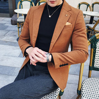 TANG Men Autumn Winter 2019 One Button Blazer Homme Suit Jacket Men 3 Solid Green Blazer Men Black Khaki Wool Blend Blazer