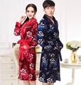 300g Robe Long Fund Flannel Autumn And Winter Male Bathrobe Win Coral Down Lovers Live With Oneself Own Family Serve robe