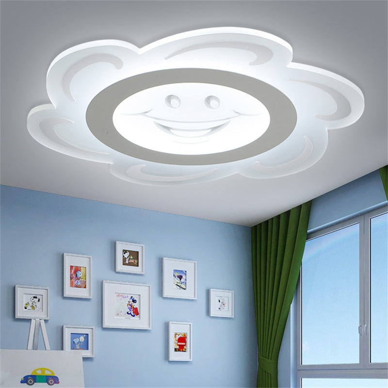 Modern LED ceiling light Children Round smile sun Transparent lamp wireless remote control LED child room decor lighting