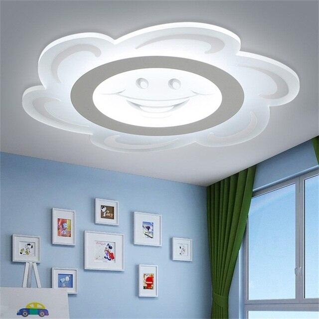 Moderno LED de luz de techo para niños ronda sonrisa sol ...