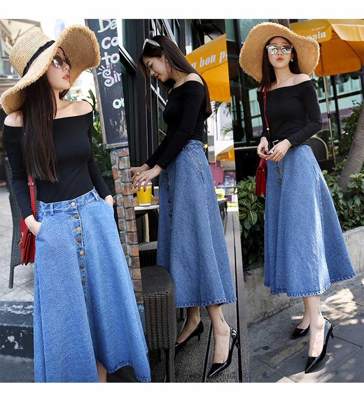 73d37936161 Aliexpress.com   Buy TingYiLi Button Front Long Denim Skirt Jeans Saias A  Line Casual Maxi Skirt With Pockets Women Summer Style Jean Skirt Long from  ...