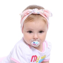 Yundfly 6pcs New Cute Kids Soft Lace Cotton Rabbit Ears Knot Headband Stripe Flower Bow Tie Little Girls Hair Accessories