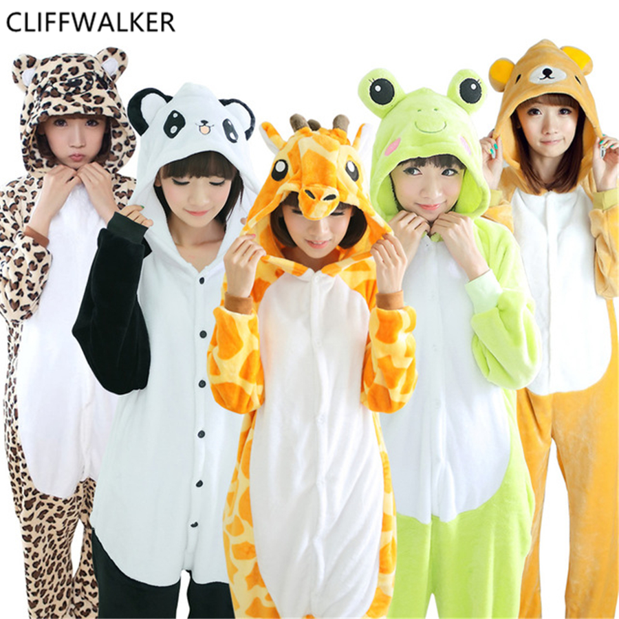 Halloween Autumn Winter Sets Cartoon Sleepwear Women Flannel Animal Stitch Panda Horse Tigger Rainbow Star Pajamas Cosplay