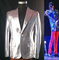 Rare Clássico MJ Michael Jackson This is it Prata Punk Rock Jaqueta Casual Terno Blazer Informal