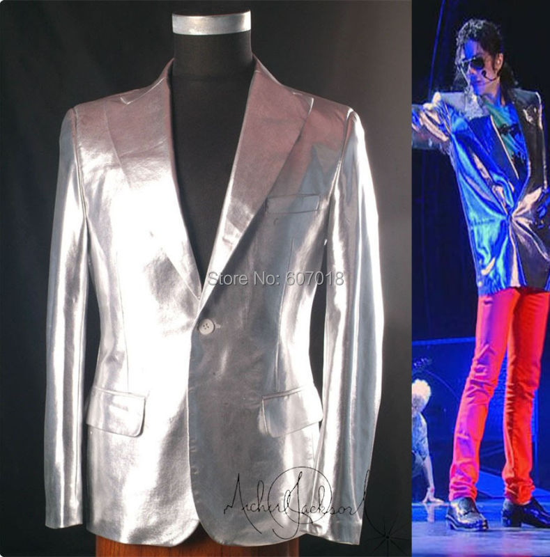 Rare classique MJ Michael Jackson This is it argent Punk Rock décontracté veste costume informel Blazer