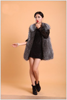 natural silver fox fur vest for women winter warm fur strip sewed toghter gray color 65cm length fur waistcoat M14823