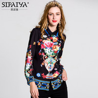 Europe Luxury Brand Runway Designer Blouse Womens High Quality Floral Print Vintage Blouse M 3XL Plus