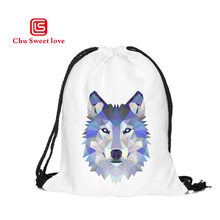 New Fashion Casual Drawstring Bag 3D Digital Printing Harajuku Women Oxford Canvas Bags With Cute Lifelike Wolf Patterns Backbag(China)
