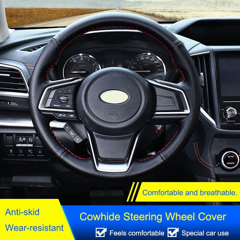QHCP cuir de vachette housse de volant protecteur autocollant anti-dérapant couture à la main ajustement pour Subaru Forester 2019 style de voiture