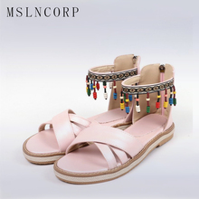 Size 34-43 women Fashion Gladiator shoes Summer Women Shoes Comfort Sandals Tassel Beading Sandals woman Beach Shoe Flat Sandals цена 2017