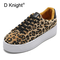 New Leopard Designer Shoes Woman Flat Platform Sneakers Lace Up Cool Tenis Feminino Casual Chunky Sneakers Ladies Shoes Creepers
