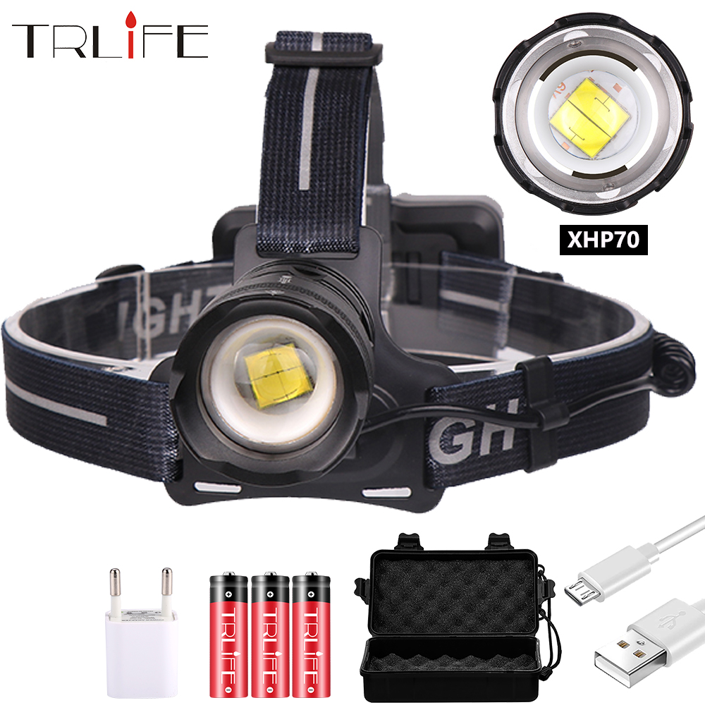 Zoomable XHP70 Led Headlamp XHP70.2 Super Bright Headlight 3 Mode Lamp Torch 18650 USB Charging Head Lamp Hunting Cycling Lamp